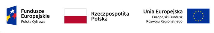 Grafika przedstawia 3 loga: Fundusze Europejskie, Rzeczpospolita Polska oraz Unia Europejska